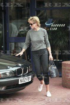 Various Princess Diana leaves the Chelsea Harbour Club wearing dagger motive jeans, London, Britain 3 Sep 1996