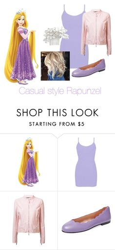 """Casual style Rapunzel"" by evagracewolf ❤ liked on Polyvore featuring York Wallcoverings, BKE, Roberto Cavalli, French Sole FS/NY and Wedding Belles New York"