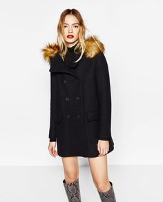 Image 4 of WOOL DUFFLE COAT WITH FAUX FUR HOOD from Zara