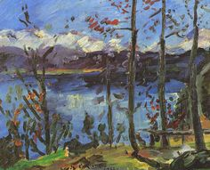Tableaux sur toile, reproduction de Corinth, Easter At Lake Walchen, 60x80cm
