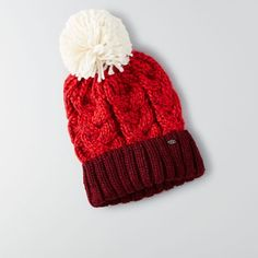 AEO Cable Knit Beanie ($23) ❤ liked on Polyvore featuring accessories, hats, maroon, cable hat, beanie cap, american eagle outfitters, pom pom beanie and pom pom hat