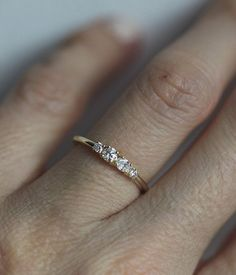 Mini Diamond Cluster Ring Four Stone Ring Cluster by MinimalVS