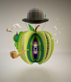 3D illustration inspired by Magritte