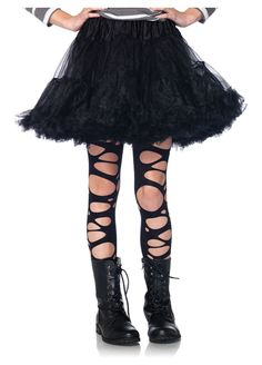 Add a cool and edgy look to your child's costume with these stylishly tattered tights. Pair these with a zombie or ghost costume for a creepy, worn-in look that will take your child's outfit to a whole new level! Halloween Costumes For Girls, Girl Costumes, Cosplay Costumes, Scary Costumes, Holiday Costumes, Costumes Kids, Creative Costumes, Disney Costumes, Adult Halloween