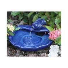 Solar Powered Ceramic Blue Koi Water Fountain Outdoor Garden Patio Deck Balcony #SmartSolar
