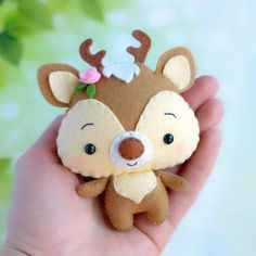 felt toys *** Please note that you will receive a digital file with patterns. No physical items will be sent *** Felt baby deer sewing pattern, cute woodland animal ). This little toy is Felt Animal Patterns, Stuffed Animal Patterns, Pdf Patterns, Felt Christmas, Christmas Crafts, Felt Crafts Diy, Bead Crafts, Fabric Crafts, Paper Crafts
