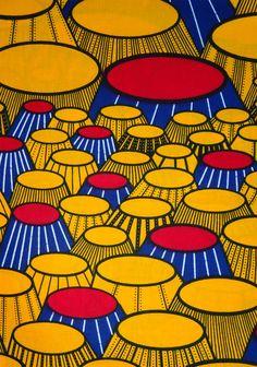 Jaune rouge et bleu Textile africaine par le Yard par Shopafrican