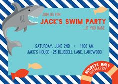 river & bridge: shark attack birthday invitation