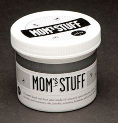 Mom's Stuff Salve is made from:  Extra virgin cold pressed oilive oil  Locally harvested beeswaxWild harvested pinion pine pitch  Sweet Almond oil  Apricot kernel oil  Jojoba oil  Lanolin  Tea tree essential oil  Rosemary essential oil  Neem oil  It smells and feels wonderful and is loved by both men and women.