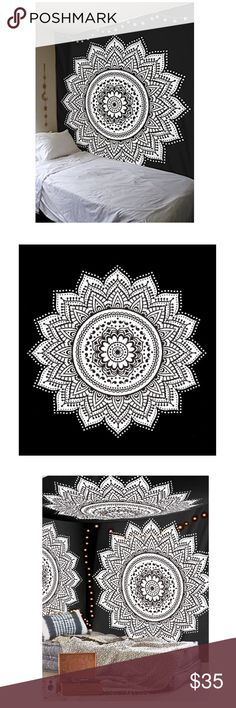 Black and White Star Bohemian Mandala Tapestry Beautiful throw/wall hanging tapestry hand made in india. The sheet measures 85 inch x 92 inch (the size of a double bed sheet). As these throws are hand made some designs may vary from the images shown. This reflects their hand made qualities and is in no way to be considered a defect. Brighten up any space with this beautiful wall hanging. Perfect for walls, beds, sofas, and much much more. Other