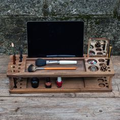 Wooden best organizer Makeup with iPad for girlfriend,mother,sister,friend, best gift for female, wife gift, mother gift, sister (free logo) by EcoWalnut , $70.00 USD
