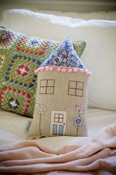Vintage love bird house cushion by little village handmade