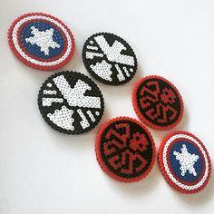 Marvel coaster set hama beads by elinajarvela