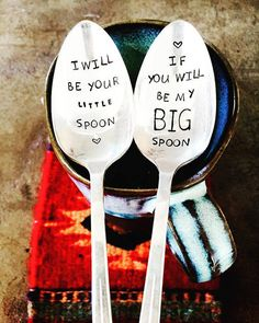 Wedding Gift, Anniversary Gift, Gift For Him, Gift For Her, Stamped Silver, Coffee Spoons, Big Spoon Little Spoon, Love Spoon, Shower Gif I