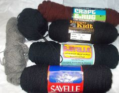 Vtg yarn lot black brown Coats & Clarks Sayelle Vonnel Knitting worsted weight