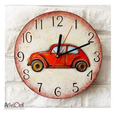 The Red Retro Car Wall Clock Home Decor for Children by ArtClock,