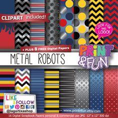 Digital Paper Silver Metallic Robots clip art Background Patterns for Party Printables bottle labels favor boxes