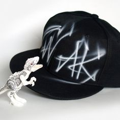 PERSONALIZED Custom PAINTED Graffiti black and white Snap back hat cap with  your NAME a19abe4ee099