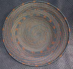 Black Copper Swirl Handmade African Zulu Telephone Wire Basket Plate Small  | eBay