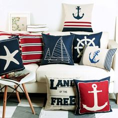 Cheap cushion cover, Buy Quality decorative pillow covers directly from China cover cushion Suppliers: Nautical Anchor Sailor Sailing Map Cotton Pillow Cushion Sofa Piaochuang Pad Home Decoration Pillow Cover Cushion Cover Modern Throw Pillows, Linen Pillows, Cushions On Sofa, Decorative Pillows, Bed Linens, Cotton Pillow, Nautical Cushion Covers, Nautical Cushions, Marine Style