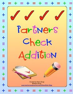 Excellent addition practice! 13 cooperative partner practice addition activities! $2.50