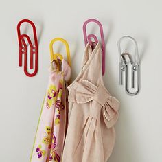 The Land of Nod | Kids Wall Decor: Jumbo Paperclip Wall Hooks in Shelves & Wall Hooks  Cute idea for an office or school supplies area.