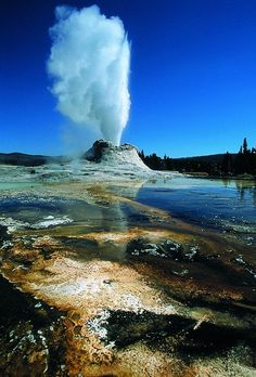 The Castle Geyser . Yellowstone National Park