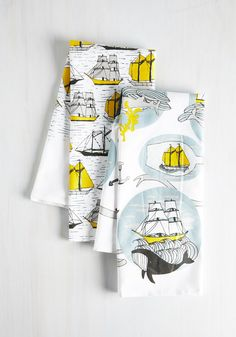Argosy You Soon Tea Towel Set. Inspired by these nautical tea towels, you take your guests on a culinary exploration - one that'll make them eager to return for moor good eats! #multi #modcloth