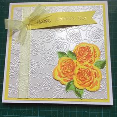 Stamped roses card