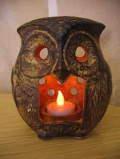 SALE // retro clay pottery OWL Candle tea light by svelteSTUFFj. $10.80, via Etsy.