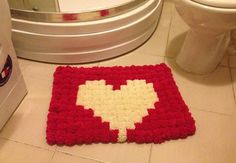 Pink and white heart Pom Poms Bath Mat Bathroom by NesrinArt, $49.00