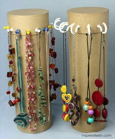 Diy Necklace Stand, Diy Jewelry Necklace, Jewelry Crafts, Gold Jewelry, Necklace Hanger, Necklace Extender, Necklace Ideas, Jewelry Tree, Trendy Jewelry