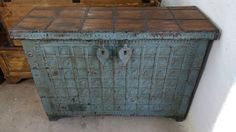 Truhe Kiste Aufbewahrung Kommode Antik Kolonial Vintage Industrial Massivholz