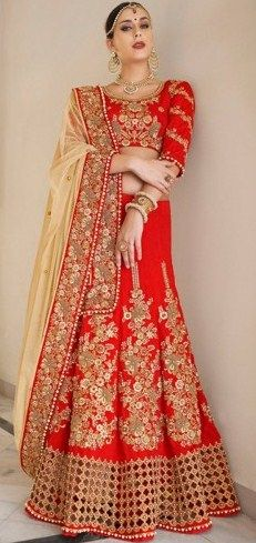 Fashionable Red Georgette Designer Lehenga Saree SKU: NC4773 bit.ly/1T5uqOJ