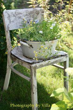 Love old chairs in the garden. Love Garden, Dream Garden, Garden Pots, Home And Garden, Planter Garden, Chair Planter, Dame Nature, Old Chairs, My Secret Garden