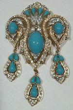 Vintage Trifari Brooch Jewels Of India MASSIVE Rhinestone Dangles Philippe RARE