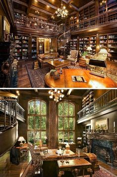Two-story library in Ellison Bay, WI. - Amazing Home Libraries Library Room, Dream Library, Library In Home, Cozy Library, Beautiful Library, Beautiful Homes, Future House, My House, Home Libraries