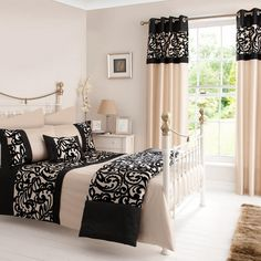 Black Baroque Flock Bedlinen Collection | Dunelm