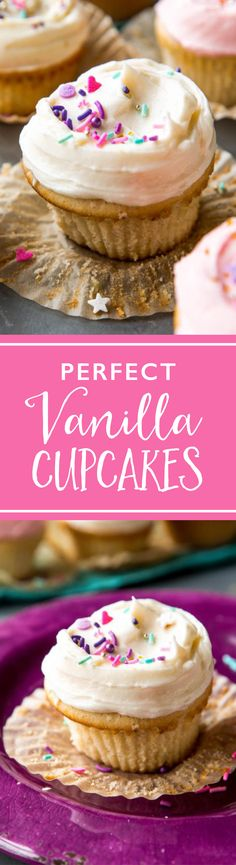 Fluffy, soft, light, and simply perfect vanilla cupcakes. They will be your new go-to homemade vanilla cupcake recipe! sallysbakingaddiction.com