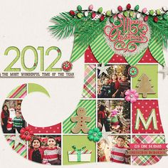 "Cute ""Tis The Season 2012"" Christmas Scrapbooking Layout...with stocking grid pattern.  By Marnel: Scrapbook.com."