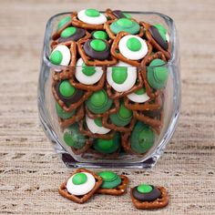 green eggs and ham - Pretzles, chocolate kisses and m #Seuss #Party Food