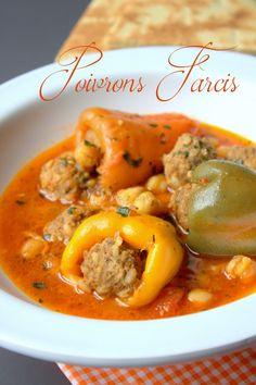 recette poivrons farcis Stuffed Bell Pepers, Stuffed Peppers, Plats Ramadan, Algerian Recipes, Algerian Food, Oriental Food, Eastern Cuisine, My Best Recipe, Thai Red Curry