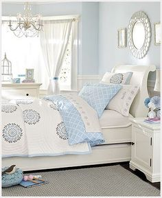 so light and airy!  love the whites and blues! with some silver accents for new girly office/guest room?