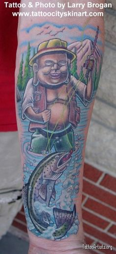 fishing tattoos | Laughing Buddha Fly Fishing for Rainbow Trout - Tattoo Artists.org