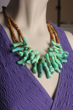 Items similar to Mint Green Coral Necklace / Lucite Green Coral Branch Jewelry / Bold Mint Necklace / Handmade One of a Kind on Etsy Turquesa E Coral, Mint Coral, Mint Green, Mint Necklace, Turquoise Necklace, Brown Beige, Handmade Necklaces, Glass Beads, Jewels
