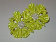 Kanzashi, Satin ribbons and MC for beginners !!! Waterlily with organza - YouTube