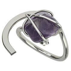 TOPSHOP Stone Wrapped Ring ($14) ❤ liked on Polyvore featuring jewelry, rings, jewels, purple, stone jewellery, stone rings, purple stone jewelry, wrap jewelry and topshop