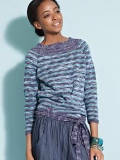 Love!  From Rowan Summerspun Collection.  It has the same lines as the off-the-shoulder sweater shown with shorts.