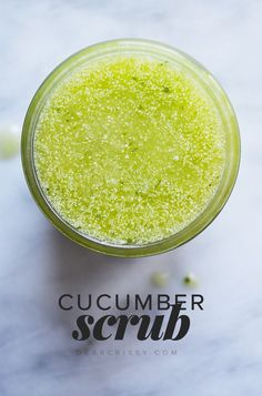 Cucumber Body Scrub - This refreshing DIY cucumber body scrub will exfoliate your skin leaving it silky smooth, and the scent is amazing!