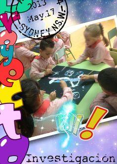 Para el proyecto iPad pintamos con palitos de brochette y témpera sobre cartulina negra, actividad colaborativa.